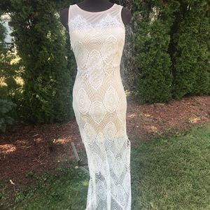 Stretch Lace cream gown with nude lining